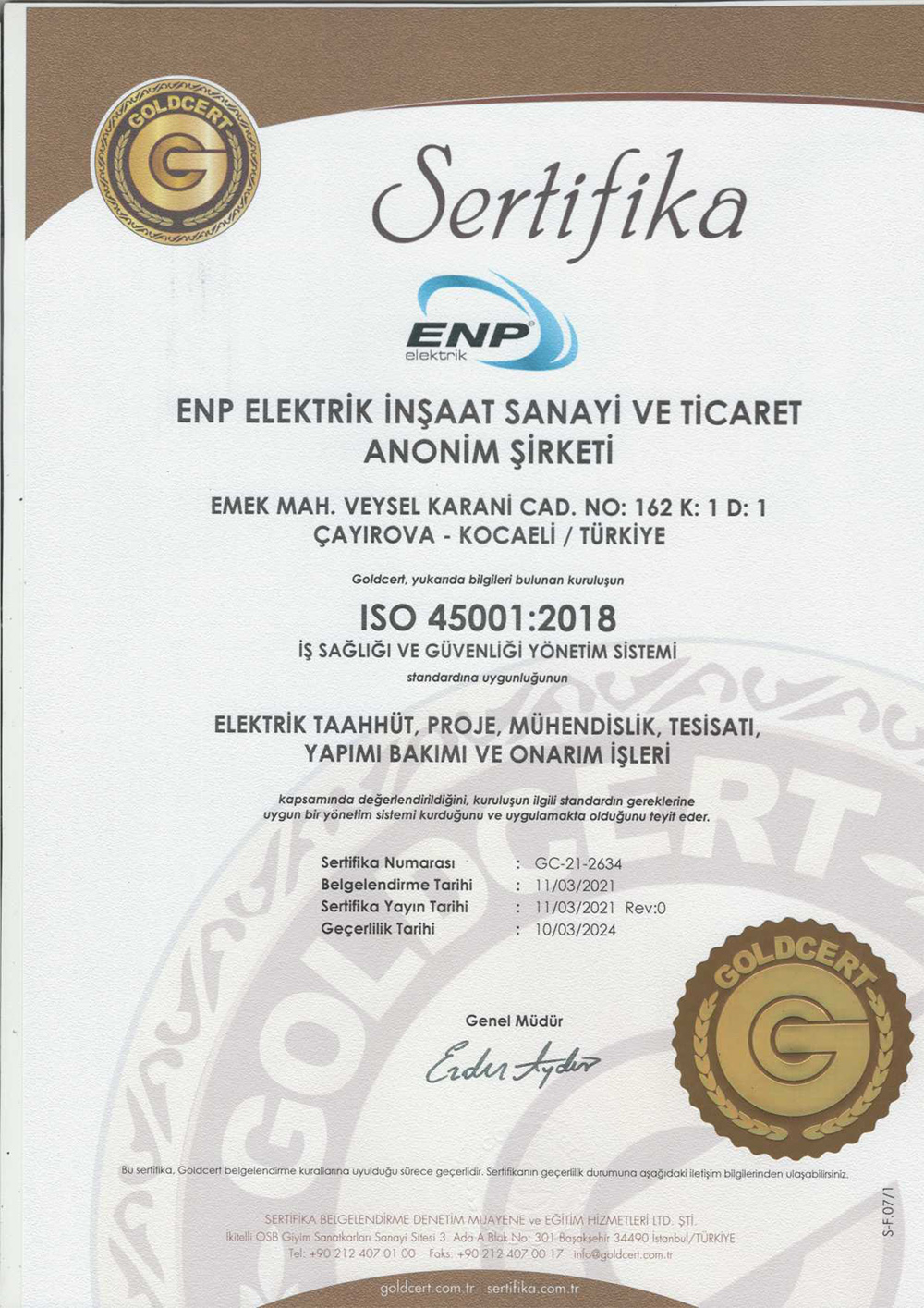 ENP ELEKTRIK ISO 45001 SERTIFIKA