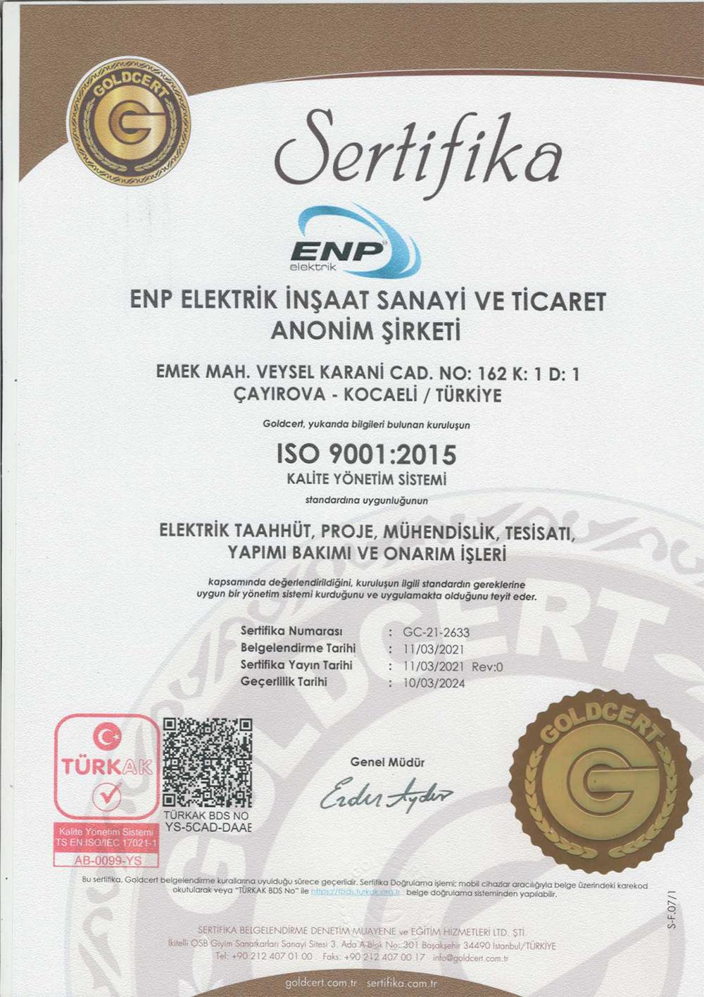 ENP ELEKTRIK ISO 9001 SERTIFIKA